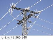 Купить «mast insulator traverse high tension», фото № 8365840, снято 23 мая 2019 г. (c) PantherMedia / Фотобанк Лори