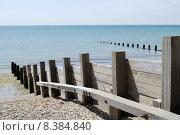 Купить «Wooden groyne on shingle beach.», фото № 8384840, снято 15 октября 2018 г. (c) PantherMedia / Фотобанк Лори