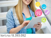Купить «close up of female hands with tablet pc on stairs», фото № 8393092, снято 29 марта 2014 г. (c) Syda Productions / Фотобанк Лори