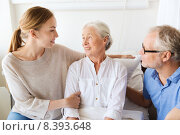 Купить «happy family visiting senior woman at hospital», фото № 8393648, снято 11 июня 2015 г. (c) Syda Productions / Фотобанк Лори