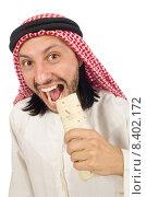 Купить «Arab man earing wrap isolated on white», фото № 8402172, снято 13 июня 2015 г. (c) Elnur / Фотобанк Лори