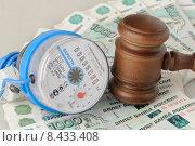 Купить «Водяной счетчик и судейский молоток лежат на российских рублях - оплата за воду», фото № 8433408, снято 7 июля 2015 г. (c) Денис Ларкин / Фотобанк Лори