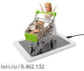 Купить «Магазинная тележка, полная монет, с куклой на планшетном компьютере», фото № 8462132, снято 31 июля 2015 г. (c) Элина Гаревская / Фотобанк Лори