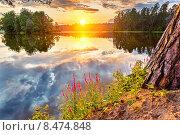 Купить «Beautiful sunset over lake», фото № 8474848, снято 21 апреля 2018 г. (c) Sergey Borisov / Фотобанк Лори
