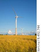 Купить «Два ветряных электрогенератора на летнем поле. Эстония», фото № 8492744, снято 1 августа 2015 г. (c) Виктор Карасев / Фотобанк Лори