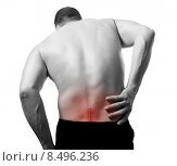 Купить «man with back pain and serious problem», фото № 8496236, снято 26 марта 2019 г. (c) PantherMedia / Фотобанк Лори