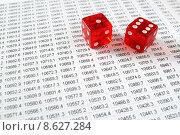 Купить «Two red dice on a spreadsheet financial data print out.», фото № 8627284, снято 8 июля 2020 г. (c) PantherMedia / Фотобанк Лори