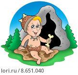 Купить «Cartoon prehistoric baby before cave», иллюстрация № 8651040 (c) PantherMedia / Фотобанк Лори