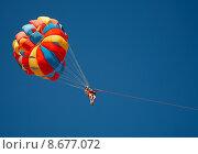 Купить «Color parachute in the sky», фото № 8677072, снято 21 августа 2018 г. (c) PantherMedia / Фотобанк Лори