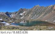 Озеро у подножья горного хребта погожим летним утром. Восточные Саяны. Бурятия. Стоковое фото, фотограф Виктор Никитин / Фотобанк Лори