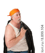 Купить «Obese gang member on white background», фото № 8899104, снято 15 октября 2018 г. (c) PantherMedia / Фотобанк Лори