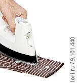 Купить «Male hand ironing shirt», фото № 9101440, снято 24 января 2019 г. (c) PantherMedia / Фотобанк Лори