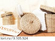 Купить «wicker baskets with bath accessories», фото № 9105924, снято 15 сентября 2019 г. (c) PantherMedia / Фотобанк Лори