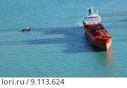 Купить «chemical tanker ship seen from the above», фото № 9113624, снято 17 декабря 2018 г. (c) PantherMedia / Фотобанк Лори