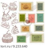 Набор векторных почтовых марок. Стоковая иллюстрация, иллюстратор Liliya Mekhonoshina / Фотобанк Лори