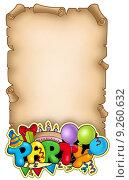 Купить «Scroll with party sign», иллюстрация № 9260632 (c) PantherMedia / Фотобанк Лори