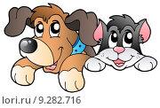 Купить «Cute lurking pets», иллюстрация № 9282716 (c) PantherMedia / Фотобанк Лори