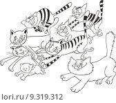 Купить «Running cats for coloring book», фото № 9319312, снято 25 июня 2018 г. (c) PantherMedia / Фотобанк Лори