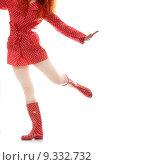 Купить «Rainy woman in red, isolated on white background», фото № 9332732, снято 21 июля 2019 г. (c) PantherMedia / Фотобанк Лори