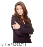 Купить «Young beautiful woman with depression, iolated », фото № 9333748, снято 24 сентября 2018 г. (c) PantherMedia / Фотобанк Лори