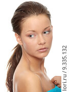 Купить «Close-up of beautiful woman face, over white background», фото № 9335132, снято 21 июля 2019 г. (c) PantherMedia / Фотобанк Лори