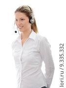 Купить «Call center woman with headset», фото № 9335332, снято 21 июля 2019 г. (c) PantherMedia / Фотобанк Лори