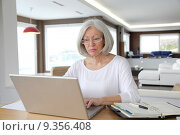 Senior woman at home in front of laptop computer. Стоковое фото, фотограф Fabrice Michaudeau / PantherMedia / Фотобанк Лори