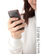 Купить «Young caucasian woman typing messege on her mobilephone isolated on white background», фото № 9360012, снято 25 марта 2019 г. (c) PantherMedia / Фотобанк Лори