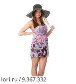 Купить «Beautiful Fashion Model Wearing A Retro Summer Hat», фото № 9367332, снято 22 июля 2019 г. (c) PantherMedia / Фотобанк Лори