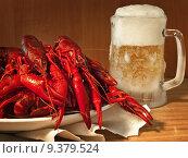 Купить «red boiled crawfishes on plate and beer », фото № 9379524, снято 17 февраля 2019 г. (c) PantherMedia / Фотобанк Лори