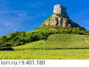 Купить «La Roche de Solutré with vineyards, Burgundy, France», фото № 9401180, снято 19 сентября 2019 г. (c) PantherMedia / Фотобанк Лори