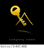 Купить «Logotype for real estate in gold», фото № 9441408, снято 18 ноября 2018 г. (c) PantherMedia / Фотобанк Лори