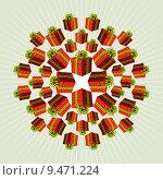 Купить «Red Mandala Gift Background», иллюстрация № 9471224 (c) PantherMedia / Фотобанк Лори