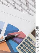 Купить «Pen and calculator on spreadsheet», фото № 9505548, снято 20 сентября 2018 г. (c) PantherMedia / Фотобанк Лори