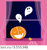 Купить «Window Halloween scene with Ghosts and orange Pumpkin head », иллюстрация № 9510948 (c) PantherMedia / Фотобанк Лори