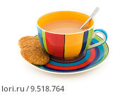 Купить «Stripy cup and saucer with two biscuits on white», фото № 9518764, снято 13 декабря 2018 г. (c) PantherMedia / Фотобанк Лори