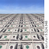 Купить «Line of dollar bills with a sky background», фото № 9524948, снято 15 октября 2018 г. (c) PantherMedia / Фотобанк Лори