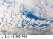 Купить «Перистые облака в вечернем небе», эксклюзивное фото № 9565764, снято 13 августа 2015 г. (c) Сергей Лаврентьев / Фотобанк Лори