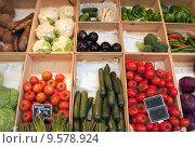 Купить «Greengrocer display», фото № 9578924, снято 23 июля 2019 г. (c) PantherMedia / Фотобанк Лори