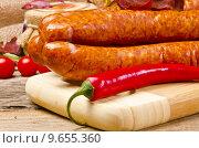 Купить «Polish sausage (Polska)», фото № 9655360, снято 12 декабря 2017 г. (c) PantherMedia / Фотобанк Лори