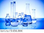 Купить «Blue chemistry vials, Laboratory», фото № 9656884, снято 17 декабря 2017 г. (c) PantherMedia / Фотобанк Лори