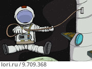 Купить «Astronaut attached to space station above a planet», иллюстрация № 9709368 (c) PantherMedia / Фотобанк Лори