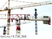 Купить «Подъемные башенные краны», фото № 9736368, снято 26 февраля 2014 г. (c) Сергеев Валерий / Фотобанк Лори