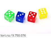 Купить «Four color of dice group object on the white background», фото № 9750076, снято 17 июня 2019 г. (c) PantherMedia / Фотобанк Лори