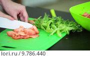 Купить «Женщина режет спелый томат», видеоролик № 9786440, снято 21 июня 2015 г. (c) Кекяляйнен Андрей / Фотобанк Лори