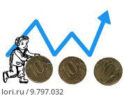 Нарисованный человечек катит монеты на фоне графика. Стоковая иллюстрация, иллюстратор Сергей Немшилов / Фотобанк Лори