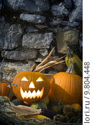 Купить «Halloween pumpkins still life close up outside », фото № 9804448, снято 20 июня 2019 г. (c) PantherMedia / Фотобанк Лори