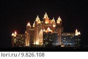 Купить «Atlantis Hotel illuminated at night. Palm Jumeirah, Dubai United Arab Emirates », фото № 9826108, снято 21 октября 2018 г. (c) PantherMedia / Фотобанк Лори