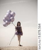 Купить «Pretty little girl with baloons in hand», фото № 9878564, снято 22 мая 2018 г. (c) PantherMedia / Фотобанк Лори