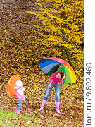 Купить «mother and her daughter with umbrellas in autumnal nature», фото № 9892460, снято 24 января 2019 г. (c) PantherMedia / Фотобанк Лори